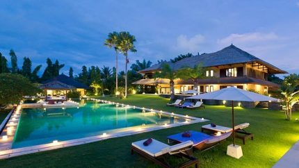 Chalina Estate Pool at Night, Canggu | 6 Bedroom Villas Bali
