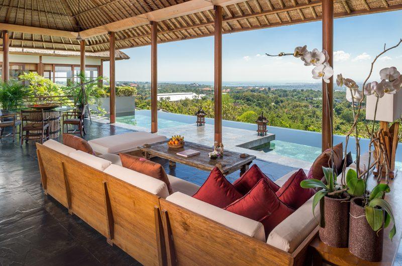 The Longhouse Indoor Living Area with Pool View, Jimbaran | 6 Bedroom Villas Bali