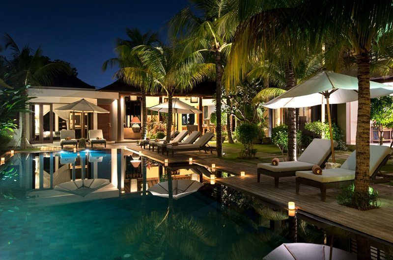 Villa Abakoi Pool at Night, Seminyak | 6 Bedroom Villas Bali
