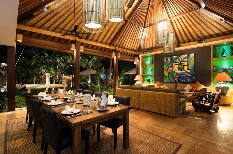 Villa Abakoi Living and Dining Area at Night, Seminyak | 6 Bedroom Villas Bali