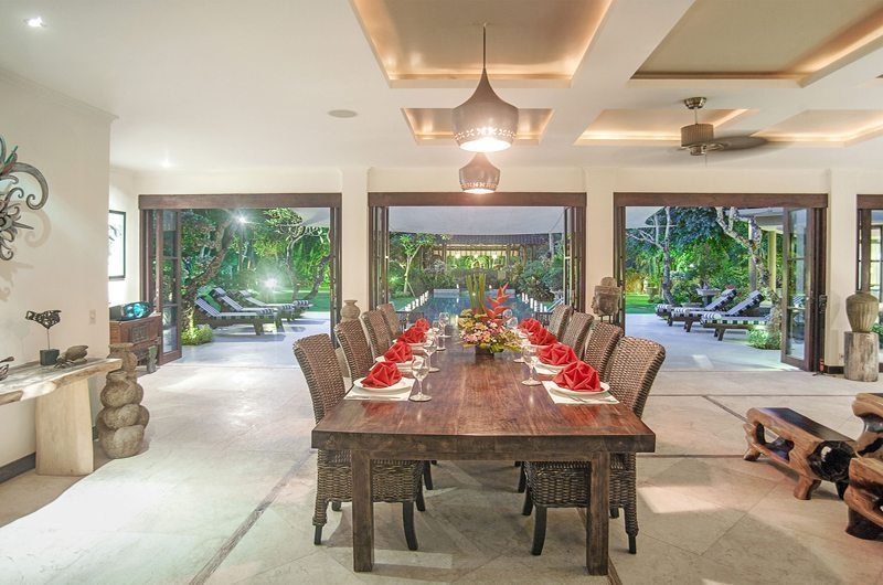 Villa Avalon Bali Dining Area with Pool View, Canggu | 6 Bedroom Villas Bali