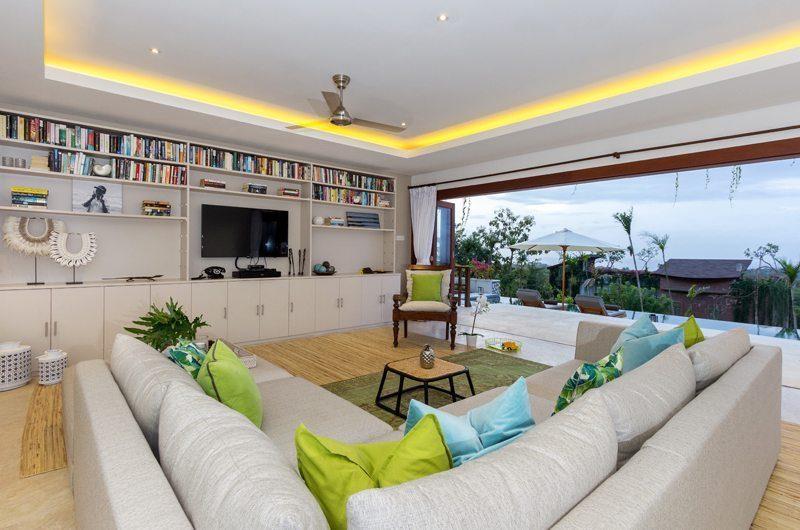 Villa Bayu Lounge Area with TV, Uluwatu | 6 Bedroom Villas Bali