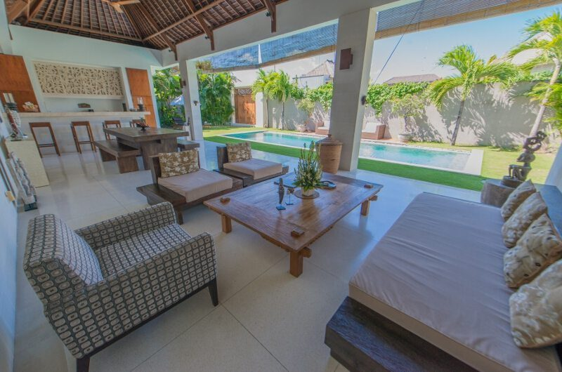 Villa Chocolat Living Area with Pool View, Seminyak | 6 Bedroom Villas Bali