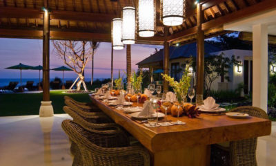 Villa Jagaditha Dining at Night, Canggu | 6 Bedroom Villas Bali