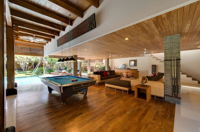 Villa Kinara Living Area with Billiard Table, Seminyak | 6 Bedroom Villas Bali
