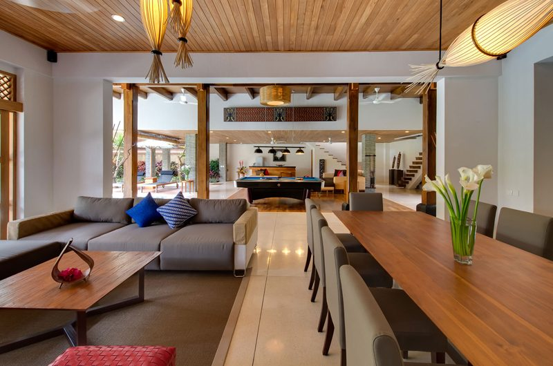 Villa Kinara Living and Dining Area with Up Stairs, Seminyak | 6 Bedroom Villas Bali