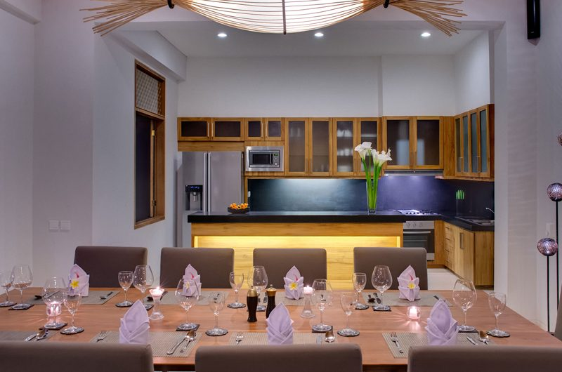 Villa Kinara Kitchen and Dining Area, Seminyak | 6 Bedroom Villas Bali
