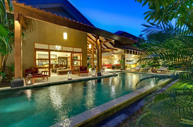 Villa Kinaree Estate Pool at Night, Seminyak | 6 Bedroom Villas Bali