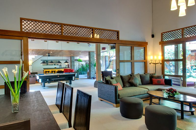 Villa Kinaree Estate Indoor Living and Dining Area, Seminyak | 6 Bedroom Villas Bali