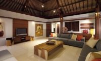 Villa Lilibel Living Area with TV, Seminyak | 6 Bedroom Villas Bali