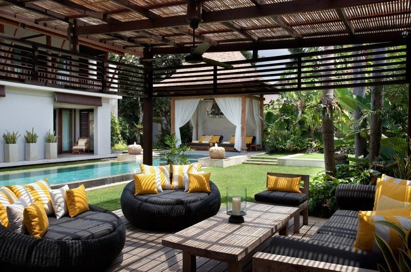 Villa Lilibel Pool Side Seating Area, Seminyak | 6 Bedroom Villas Bali