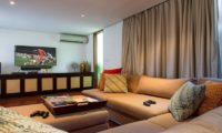 Villa Lilibel Living Area with Wooden Floor, Seminyak | 6 Bedroom Villas Bali