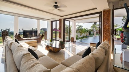 Villa Luwih Living Area with Pool View, Canggu | 6 Bedroom Villas Bali