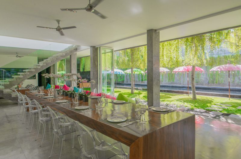 Villa Simpatico Dining Area with Pool View, Seminyak | 6 Bedroom Villas Bali