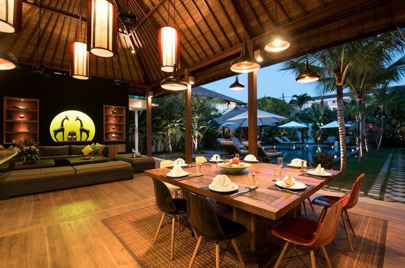 Villa Tangram Living and Dining Area with Pool View, Seminyak | 6 Bedroom Villas Bali