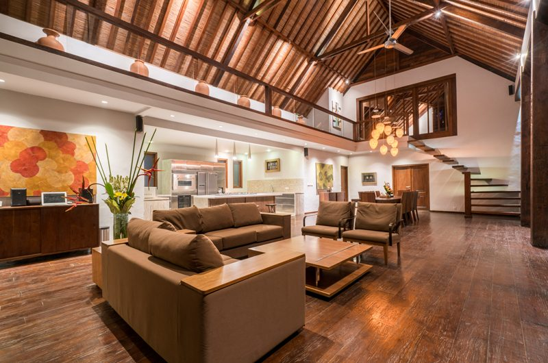 Villa Tirtadari Living Area with Up Stairs, Umalas | 6 Bedroom Villas Bali