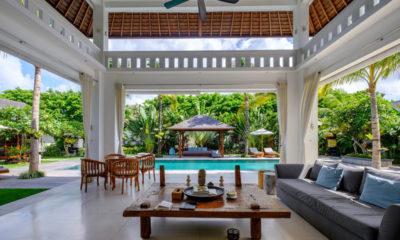 Villa Tjitrap Living Area with Pool View, Seminyak | 6 Bedroom Villas Bali