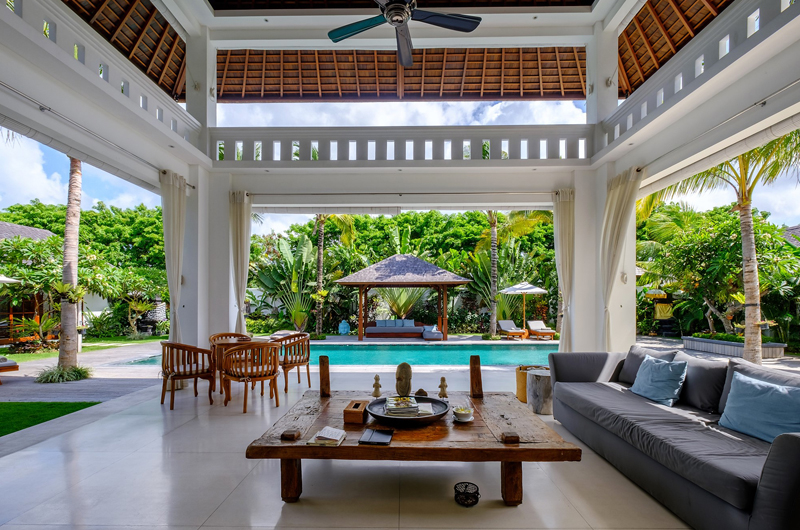 Villa Tjitrap Living Area with Pool View, Seminyak | 6 Bedroom Villas Bali