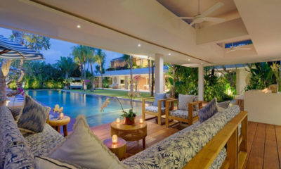 Villa Zambala Lounge Area with Pool View, Canggu | 6 Bedroom Villas Bali